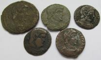 Ancient Coins - Lot of 5x coins struck under Magnentius -- 4x maiorina and 1x double maiorina