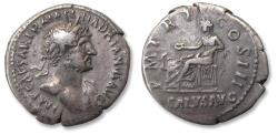 Ancient Coins - AR denarius, Hadrian / Hadrianus. Rome mint 119-122 A.D. - P M TR P COS III / SALVS AVG, Salus seated left -