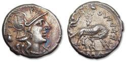 Ancient Coins - AR Denarius Sextus Pompeius Faustulus / Fostlus. Rome 137 B.C. - superb example of this type -