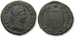 Ancient Coins - AE follis Constantine II as Caesar, Siscia mint 328-329 A.D. - ЄSIS, 12 tiered campgate, upper tier manned with soldiers (?) -