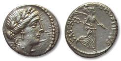Ancient Coins - AR denarius L. Hostilius Saserna, Rome 48 B.C.