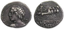 Ancient Coins - AR denarius C. Licinius L.f. Macer, Rome 84 B.C.