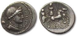 Ancient Coins - AR Denarius, L. Farsuleius Mensor. Rome, 75 B.C.