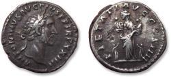 Ancient Coins - AR denarius Antoninus Pius, Rome mint 160-161 A.D. - PIETATI AVG COS IIII -