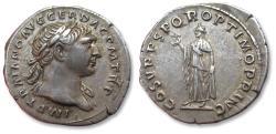 Ancient Coins - AR denarius Trajan / Trajanus, Rome 107-108 A.D. - Spes walking left -