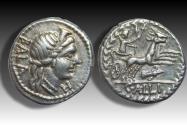 Ancient Coins - AR denarius C. Allius Bala. Rome 92 B.C. - biga of stags, rare/scarce bow & quiver control symbol -