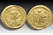 AV gold Solidus Justinian I / Justinianus I, Constantinople 527-538 A.D. - CONOB, officina B -