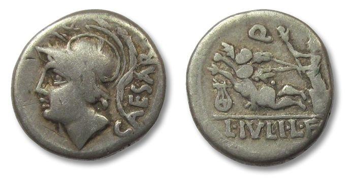 Ancient Coins - HS: AR denarius L. Iulius Caesar, Rome 103 B.C.