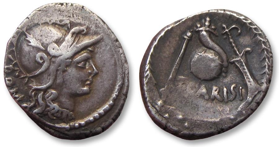 Ancient Coins - AR Denarius, T. Carisius, Rome 46 B.C. - great toning -