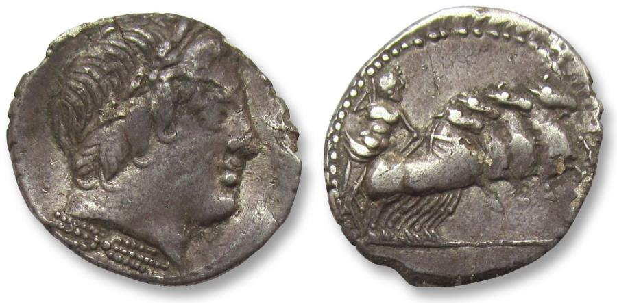 Ancient Coins - AR denarius anonymous issue, Rome 86 B.C.