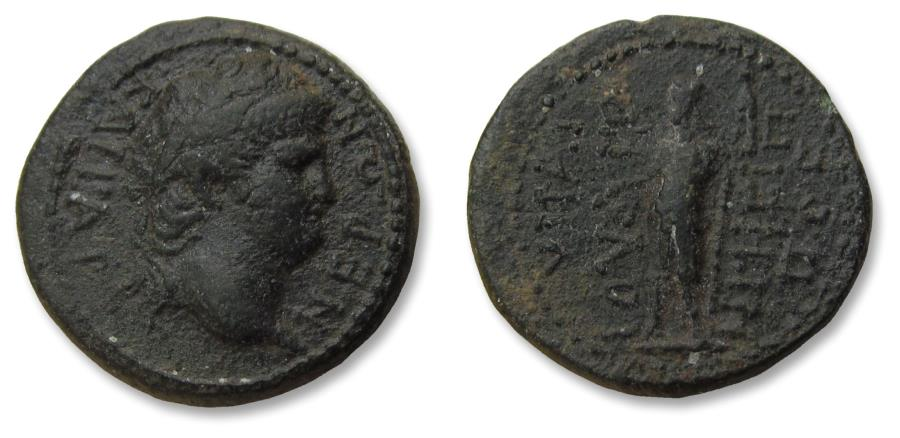 Ancient Coins - Lydia, Hypaipa. AE unit emperor Nero - circa 60-68 A.D. - struck under magistrate Julios Hegesippos