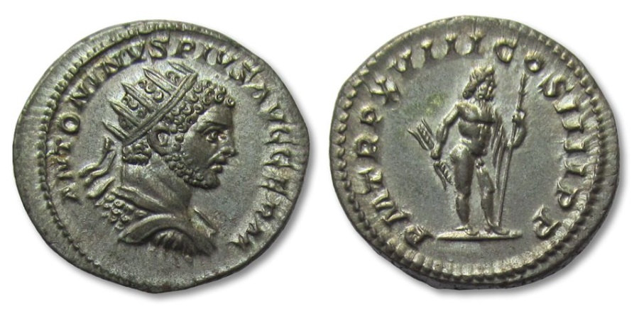 Ancient Coins - AR antoninianus Caracalla, Rome 215 A.D. -- outstanding coin, great lustre, almost FDC --