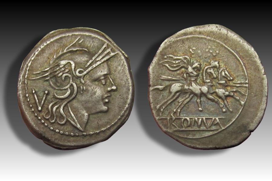 Ancient Coins - AR quinarius anonymous issue, Rome 211-200 B.C.- beauty & from old Dutch collection, with purchase ticket -