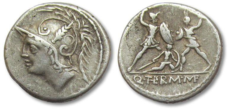 Ancient Coins - AR Denarius, Q. Minucius Thermus. Rome, 103 B.C. - nicely centered on both sides -