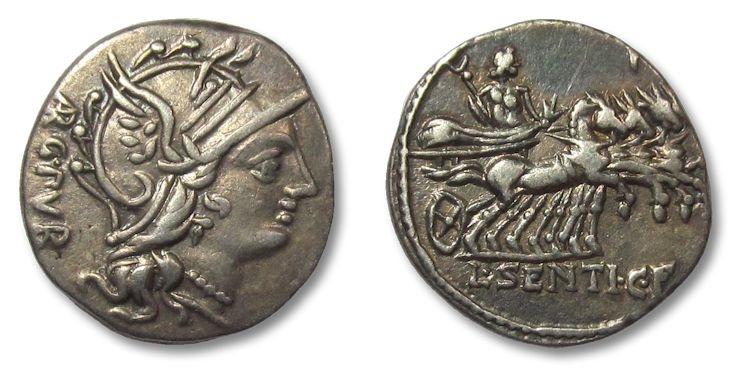 Ancient Coins - AR denarius L. Sentius. c.f., Rome 101 B.C.