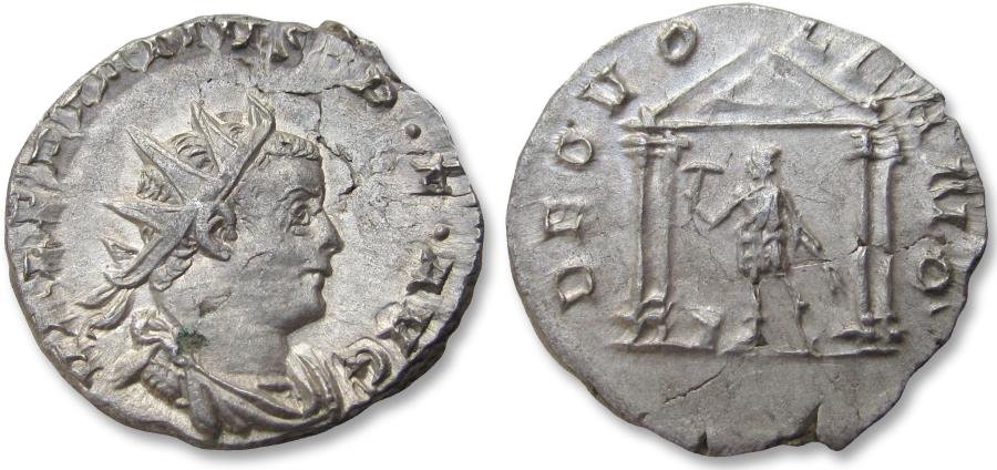 Ancient Coins - AR antoninianus Valerian / Valerianus - rare cointype - Colonia Agrippinensis (Cologne) 258-259 A.D. - DEO VOLKANO, temple of Vulcan -