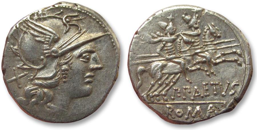 Ancient Coins - AR Denarius, P. Aelius Paetus, Rome 138 B.C. - outstanding coin -