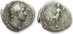 Ancient Coins - AR denarius Hadrian / Hadrianus, Rome 125-128 A.D. - Pietas seated left, globe below -