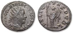 Ancient Coins - AR or BI antoninianus, Trebonianus Gallus - typical eastern style coin - Antioch mint 251-253 A.D. - FELICITAS PVBL, varierty without control marks in exergue -