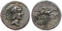 Ancient Coins - AR FOURREE denarius L. Calpurnius Piso L.f. Frugi, Rome 90 B.C. -- beautiful high relief fourree --