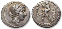 Ancient Coins - AR denarius C. Julius Caesar, military mint travelling with Caesar 48-47 B.C. - beautifully toned -
