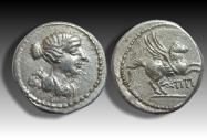 Ancient Coins - AR quinarius Q. Titius. Rome 90 B.C. - rare in this quality, charming little coin -