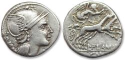 Ancient Coins - AR denarius L. Flaminius Chilo, Rome 109-108 B.C.