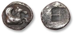 Ancient Coins - MACEDONIA, 8mm AR hemiobol. THERMAI mint circa 500-480 B.C. - scarce tiny coin Ex Collection Jean-Claude Bourgeois (with ticket) -