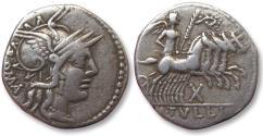 Ancient Coins - AR denarius M. Tullius. Rome 120 B.C.