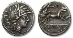 Ancient Coins - AR denarius L. Rutilius Flaccus, Rome 77 B.C. -- beautifully struck --