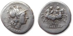 Ancient Coins - AR denarius C. Servilius M.f. , Rome 136 B.C. - struck on a large flan -