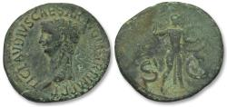 Ancient Coins - AE As emperor Claudius, Rome 41-42 A.D. -- great portrait --