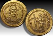 Ancient Coins - AV gold solidus Theodosius II, Constantinople mint AD 420-422 - Officina B (= 2nd) beautiful centered & toning