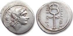 Ancient Coins - AR Denarius, M. Plaetorius Cestianus, Rome 69 B.C.