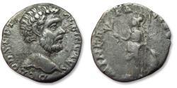 Ancient Coins - AR denarius Clodius Albinus. Rome mint 194-195 A.D. - MINER PACIF COS II, helmeted Minerva standing left -