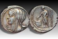 Ancient Coins - AR denarius L. Cassius Longinus, Rome 63 B.C. -- control letter S --