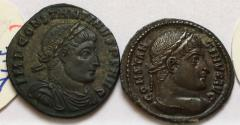 Ancient Coins - Group of 2 Æ Folles Constantine I 306-337 AD - great quality, with original sale tickets, Arelate mint