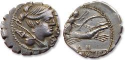 """Ancient Coins - AR Denarius, Ti. Claudius Nero, Rome 79 B.C. - control symbols """"A"""" and """"III"""" on reverse -"""