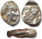 Ancient Coins - AR tetradrachm Attica, Athens 353-294 B.C. - struck on folded old tetradrachm, 7 mm thick oval flan -