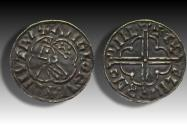 World Coins - Quatrefoil type AR penny Cnut the Great - LINCOLN mint 1017-1023 A.D. - moneyerÆÐELMER - EMC recorded detector find