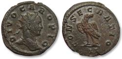 Ancient Coins - AE silvered antoninianus DIVO Carus, Lugdunum / Lyon 283 A.D. -- Officina II, almost as struck --