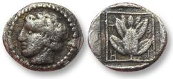 Ancient Coins - AR trihemiobol Macedon, Chalkidian League, Olynthos mint 425-390 B.C. -- tiny 9mm coin --