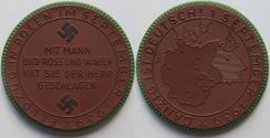 World Coins - Nazi Germany WW2 brown porcelain medal 1939: on the campaign in Poland & capture of Danzig - rare -