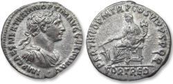 Ancient Coins - AR denarius Trajan / Trajanus, Rome 116-117 A.D. - PARTHICO P M TR P COS VI P P S P Q R, cuirassed bust