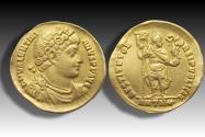 AV gold solidus Valentinian I / Valentinianus I, Antioch mint circa 365 A.D. - officina H (=8th) -