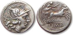 Ancient Coins - AR denarius anonymous issues, Rome 157-156 B.C.