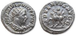 Ancient Coins - AR antoninianus, Philip I 'the Arab' - beautiful condition - Rome mint 247-249 A.D. - ADVENTVS AVGG, emperor on horseback -