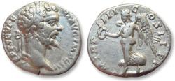 Ancient Coins - AR denarius Septimius / Septimus Severus, Rome 196 A.D. -- Victory advancing left--
