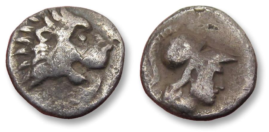 Ancient Coins - Pamphylia, Side. AR hemiobol, circa 400-300 B.C. - variety with lion right -
