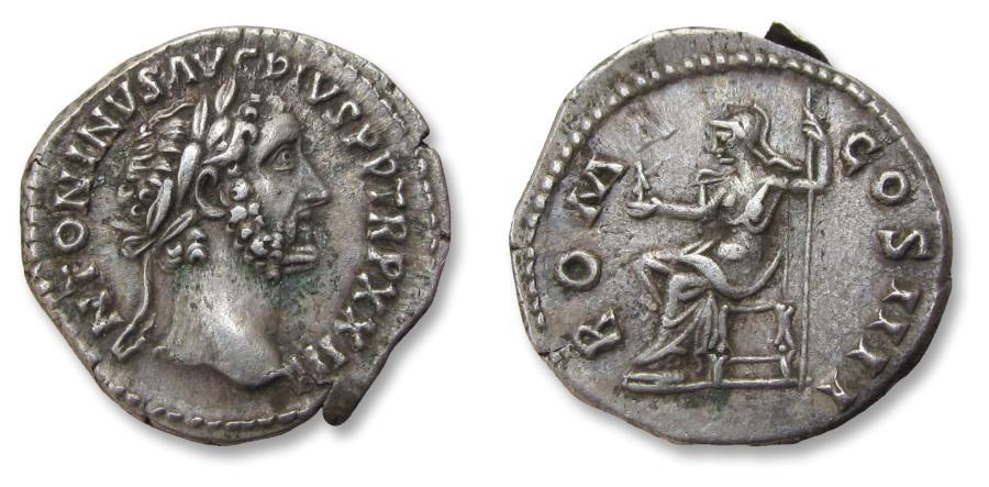 Ancient Coins - AR denarius, Antoninus Pius, Rome 160 A.D. - ROMA COS IIII, Roma seated left -